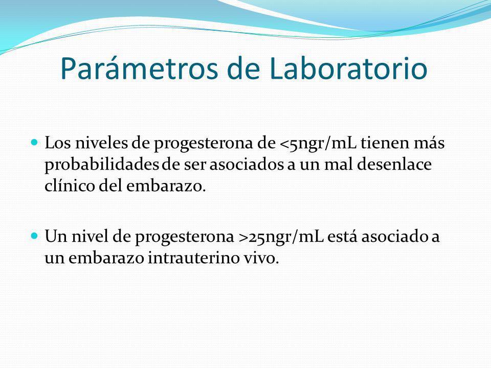 Parámetros de Laboratorio Los niveles de progesterona de <5ngr/mL tienen más probabilidades de ser asociados a un mal desenlace clínico del embarazo.