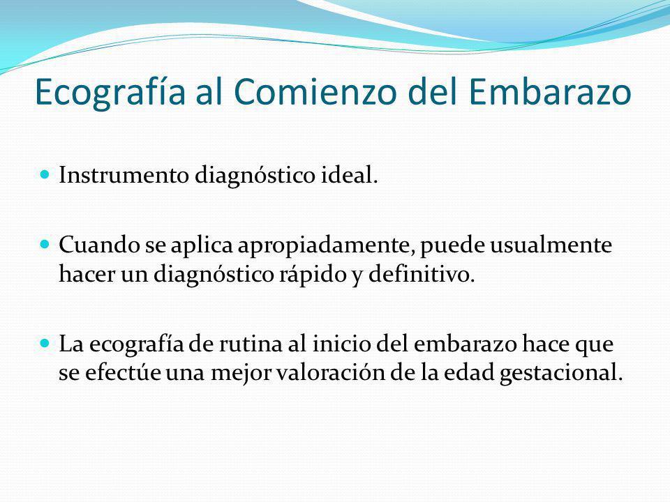 Ecografía al Comienzo del Embarazo Instrumento diagnóstico ideal. Cuando se aplica apropiadamente, puede usualmente hacer un diagnóstico rápido y defi