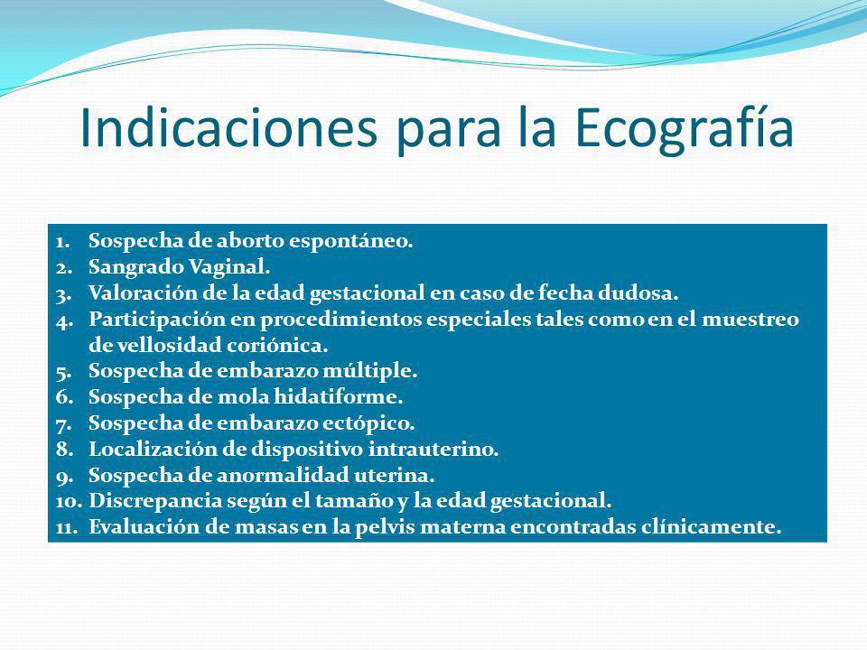 Indicaciones para la Ecografía 1.Sospecha de aborto espontáneo. 2.Sangrado Vaginal. 3.Valoración de la edad gestacional en caso de fecha dudosa. 4.Par