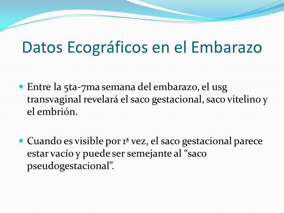 Datos Ecográficos en el Embarazo Entre la 5ta-7ma semana del embarazo, el usg transvaginal revelará el saco gestacional, saco vitelino y el embrión. C