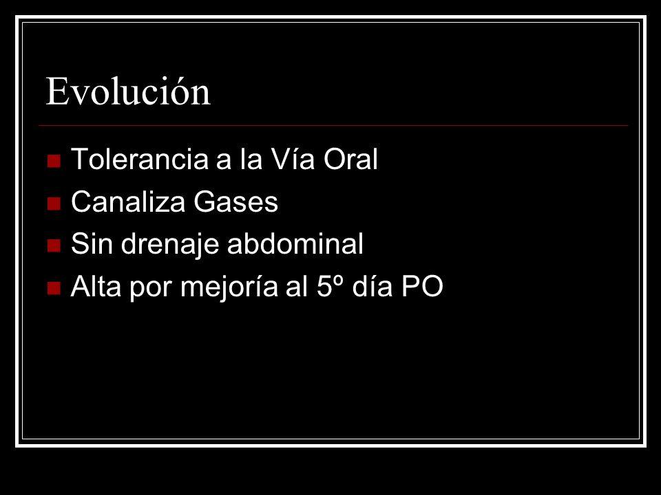 Evolución Tolerancia a la Vía Oral Canaliza Gases Sin drenaje abdominal Alta por mejoría al 5º día PO