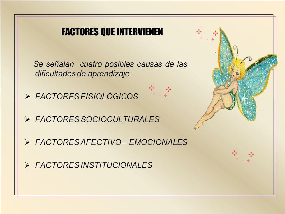 FACTORES QUE INTERVIENEN Se señalan cuatro posibles causas de las dificultades de aprendizaje: FACTORES FISIOLÓGICOS FACTORES SOCIOCULTURALES FACTORES