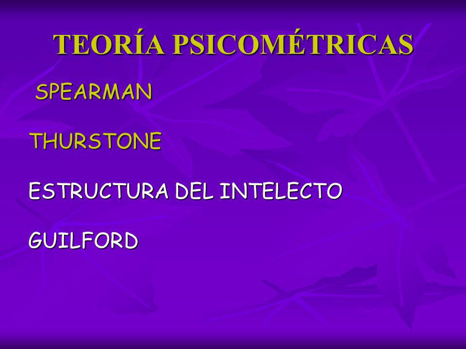 TEORÍA PSICOMÉTRICAS SPEARMAN SPEARMANTHURSTONE ESTRUCTURA DEL INTELECTO GUILFORD