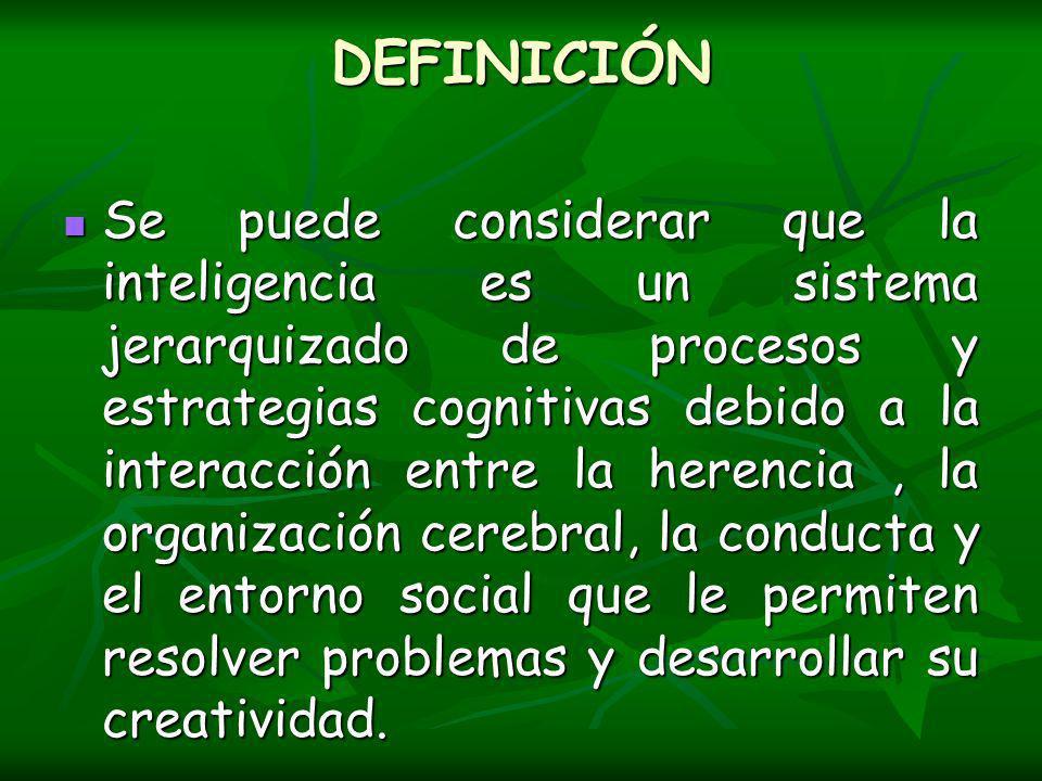 DEFINICIÓN Se puede considerar que la inteligencia es un sistema jerarquizado de procesos y estrategias cognitivas debido a la interacción entre la herencia, la organización cerebral, la conducta y el entorno social que le permiten resolver problemas y desarrollar su creatividad.
