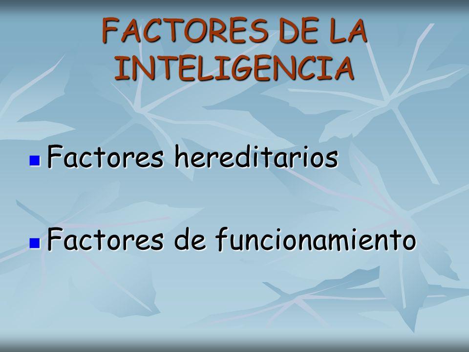FACTORES DE LA INTELIGENCIA FACTORES DE LA INTELIGENCIA Factores hereditarios Factores hereditarios Factores de funcionamiento Factores de funcionamiento