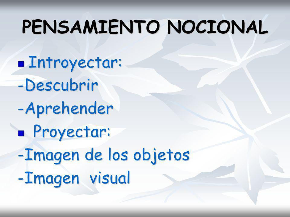 PENSAMIENTO NOCIONAL Introyectar: Introyectar:-Descubrir-Aprehender Proyectar: Proyectar: -Imagen de los objetos -Imagen visual