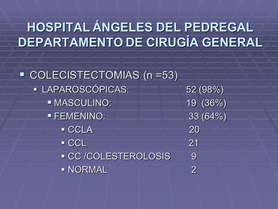 HOSPITAL ÁNGELES DEL PEDREGAL DEPARTAMENTO DE CIRUGÍA GENERAL COLECISTECTOMIAS (n =53) COLECISTECTOMIAS (n =53) LAPAROSCÓPICAS: 52 (98%) LAPAROSCÓPICA