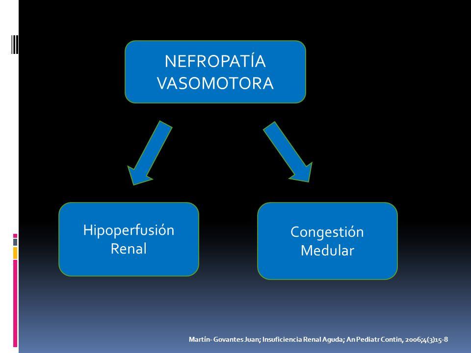 NEFROPATÍA VASOMOTORA Hipoperfusión Renal Congestión Medular