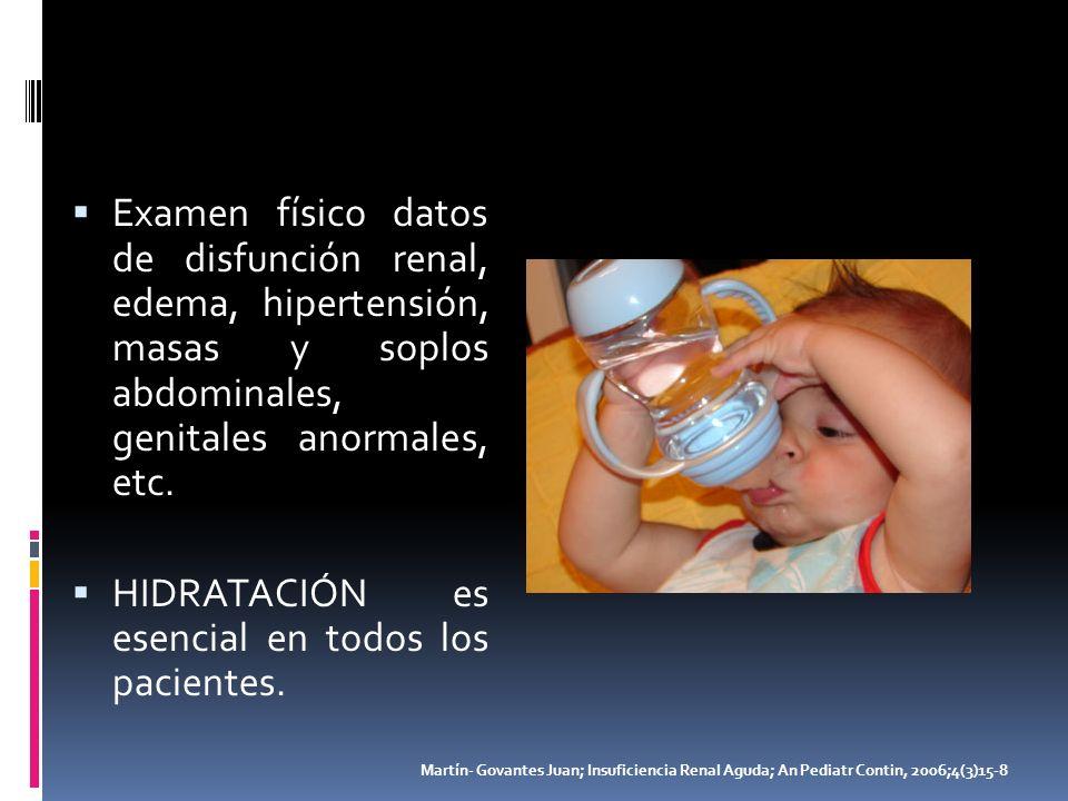 Examen físico datos de disfunción renal, edema, hipertensión, masas y soplos abdominales, genitales anormales, etc. HIDRATACIÓN es esencial en todos l