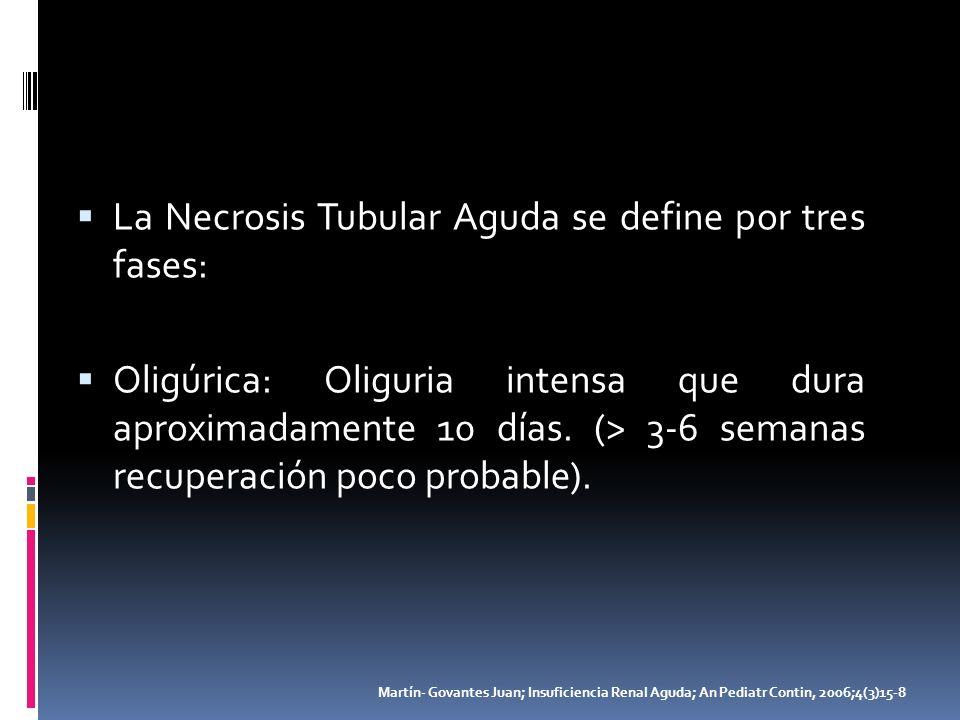 La Necrosis Tubular Aguda se define por tres fases: Oligúrica: Oliguria intensa que dura aproximadamente 10 días. (> 3-6 semanas recuperación poco pro