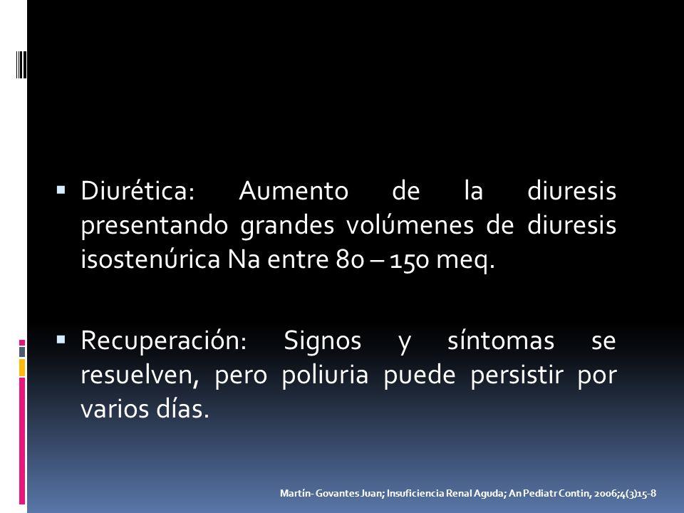 Diurética: Aumento de la diuresis presentando grandes volúmenes de diuresis isostenúrica Na entre 80 – 150 meq. Recuperación: Signos y síntomas se res