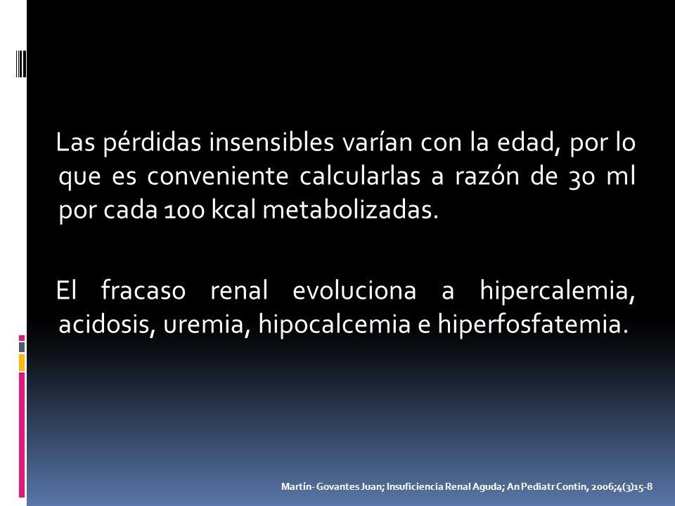 Las pérdidas insensibles varían con la edad, por lo que es conveniente calcularlas a razón de 30 ml por cada 100 kcal metabolizadas. El fracaso renal