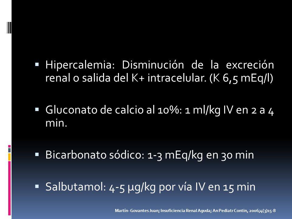 Hipercalemia: Disminución de la excreción renal o salida del K+ intracelular. (K 6,5 mEq/l) Gluconato de calcio al 10%: 1 ml/kg IV en 2 a 4 min. Bicar