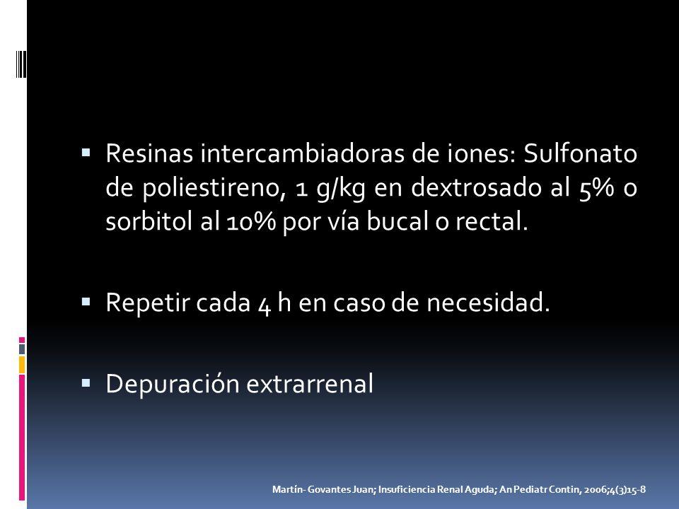 Resinas intercambiadoras de iones: Sulfonato de poliestireno, 1 g/kg en dextrosado al 5% o sorbitol al 10% por vía bucal o rectal. Repetir cada 4 h en