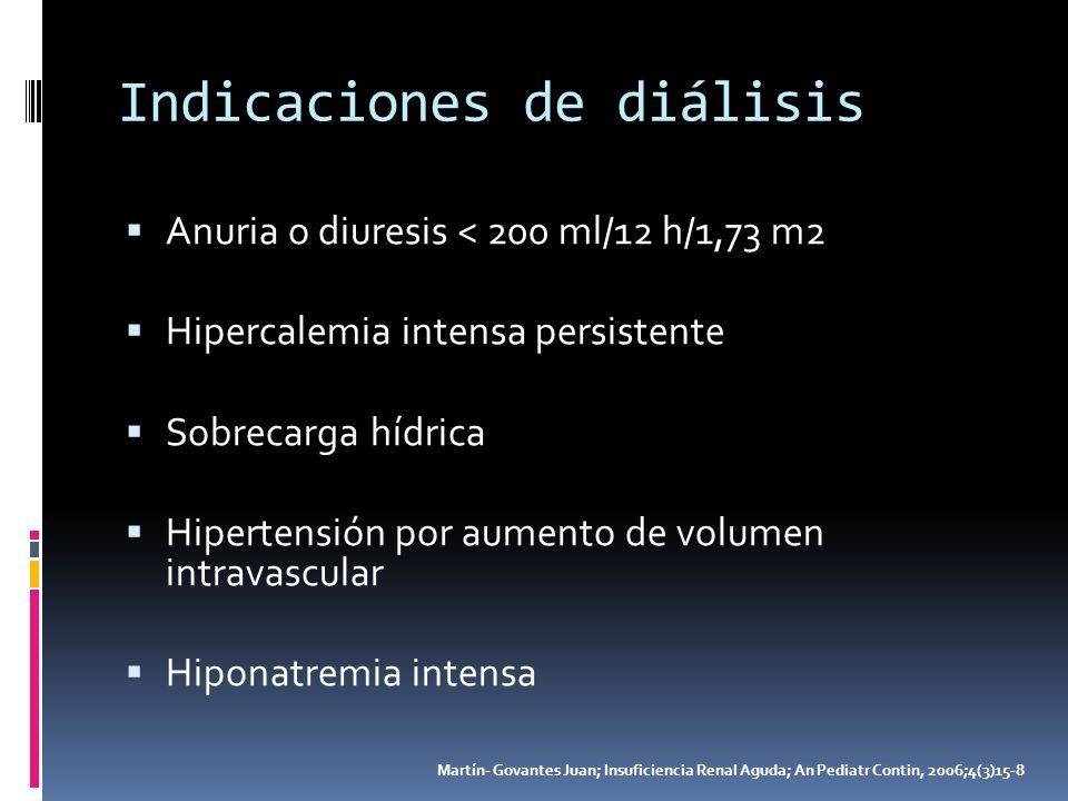 Indicaciones de diálisis Anuria o diuresis < 200 ml/12 h/1,73 m2 Hipercalemia intensa persistente Sobrecarga hídrica Hipertensión por aumento de volum