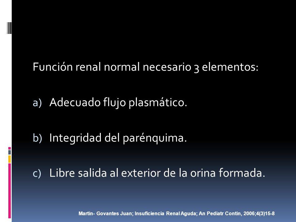 Función renal normal necesario 3 elementos: a) Adecuado flujo plasmático. b) Integridad del parénquima. c) Libre salida al exterior de la orina formad