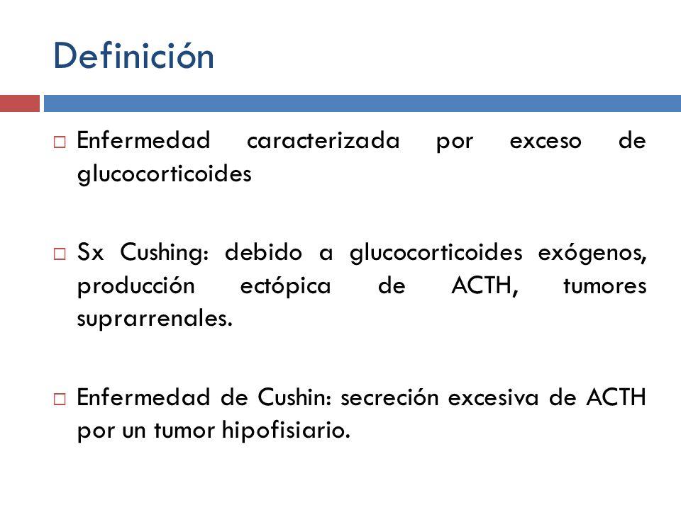 Definición Enfermedad caracterizada por exceso de glucocorticoides Sx Cushing: debido a glucocorticoides exógenos, producción ectópica de ACTH, tumore
