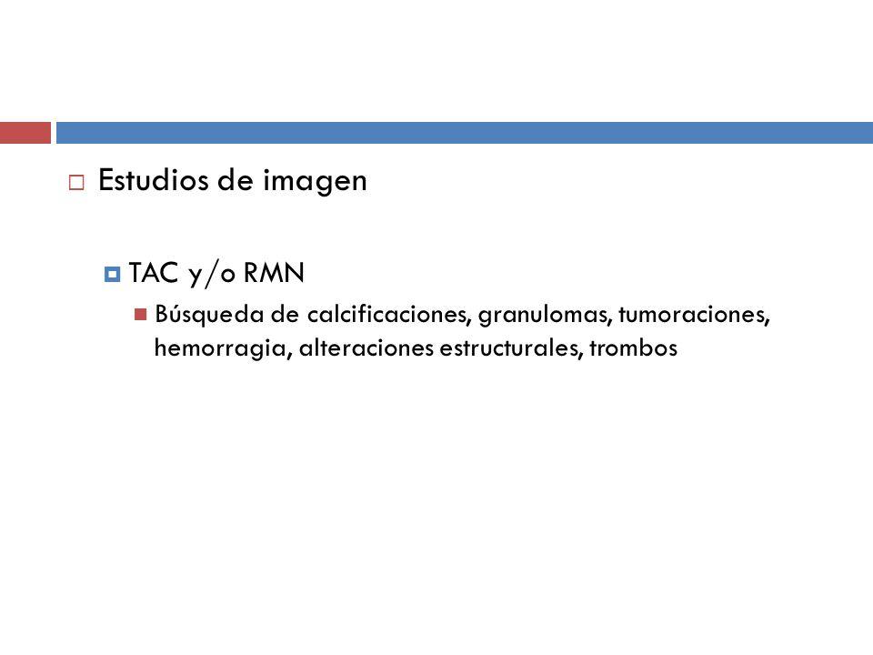 Estudios de imagen TAC y/o RMN Búsqueda de calcificaciones, granulomas, tumoraciones, hemorragia, alteraciones estructurales, trombos