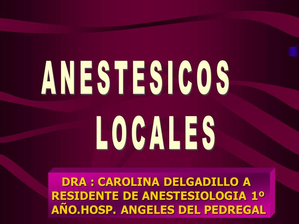 DRA : CAROLINA DELGADILLO A DRA : CAROLINA DELGADILLO A RESIDENTE DE ANESTESIOLOGIA 1º AÑO.HOSP.