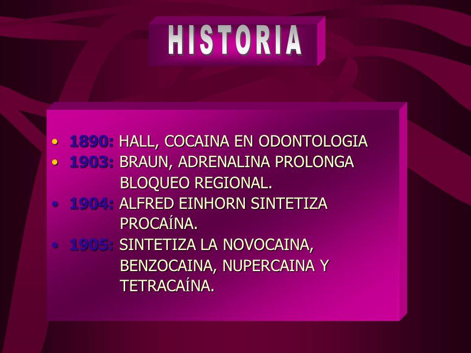 1890: HALL, COCAINA EN ODONTOLOGIA1890: HALL, COCAINA EN ODONTOLOGIA 1903: BRAUN, ADRENALINA PROLONGA1903: BRAUN, ADRENALINA PROLONGA BLOQUEO REGIONAL.
