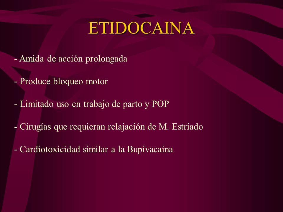 CLORPROCAINA -Anestésico local de tipo ester -Derivado clorado de la procaína - Inicio rápido de acción con duración corta - Semidesintegración plasmá