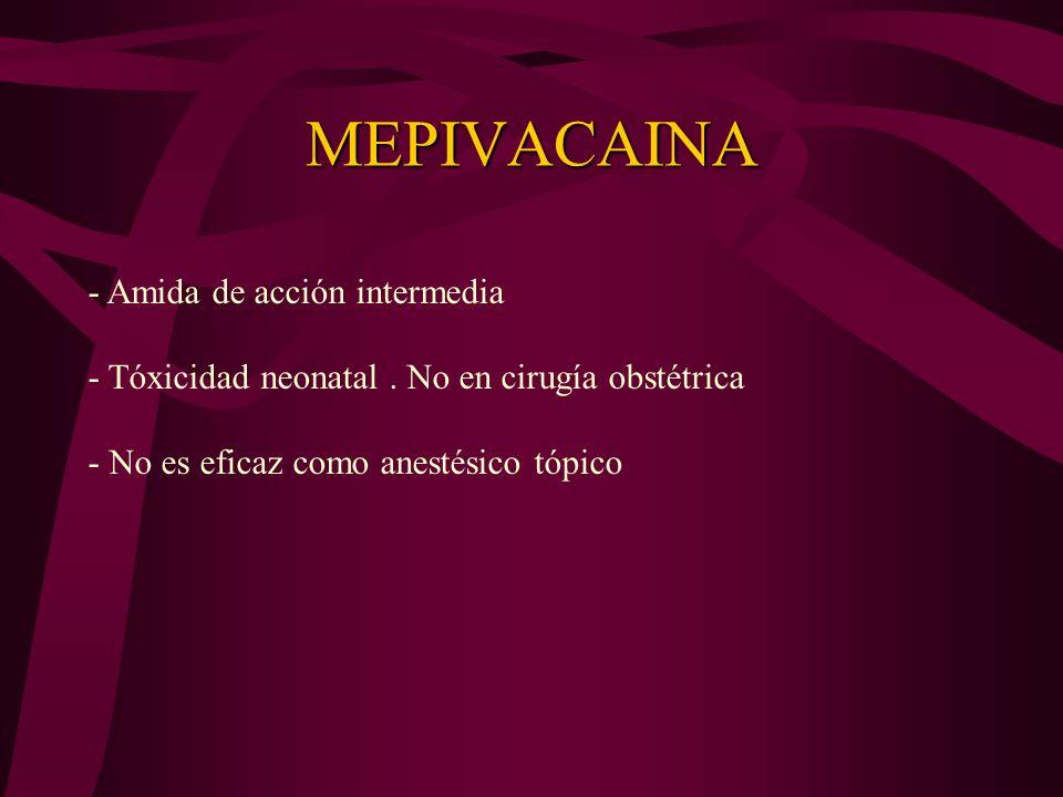 ETIDOCAINA - Amida de acción prolongada - Produce bloqueo motor - Limitado uso en trabajo de parto y POP - Cirugías que requieran relajación de M. Est