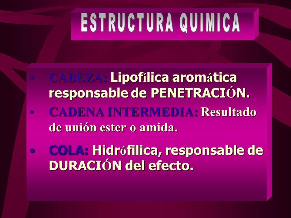 1.SER REVERSIBLE 2.TENER PERIODO DE LATENCIA 3.DURACION QUE GARANTICE CIRUGIAS 4.MINIMA TOXICIDAD ORGANICA 5.MINIMA TOXICIDAD LOCAL.