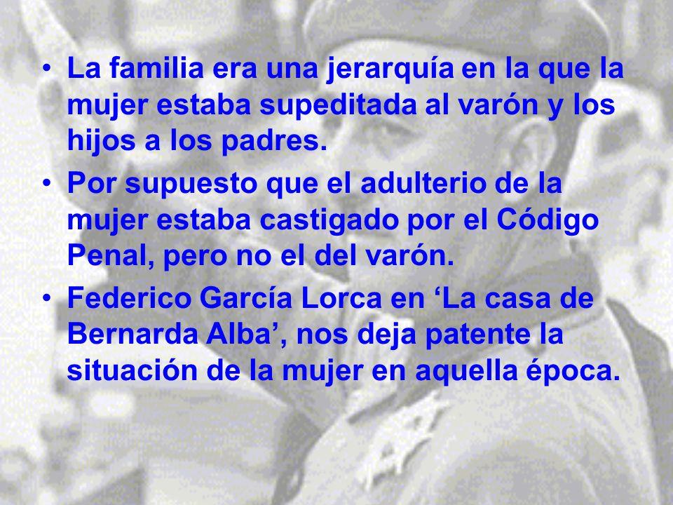 La familia era una jerarquía en la que la mujer estaba supeditada al varón y los hijos a los padres.