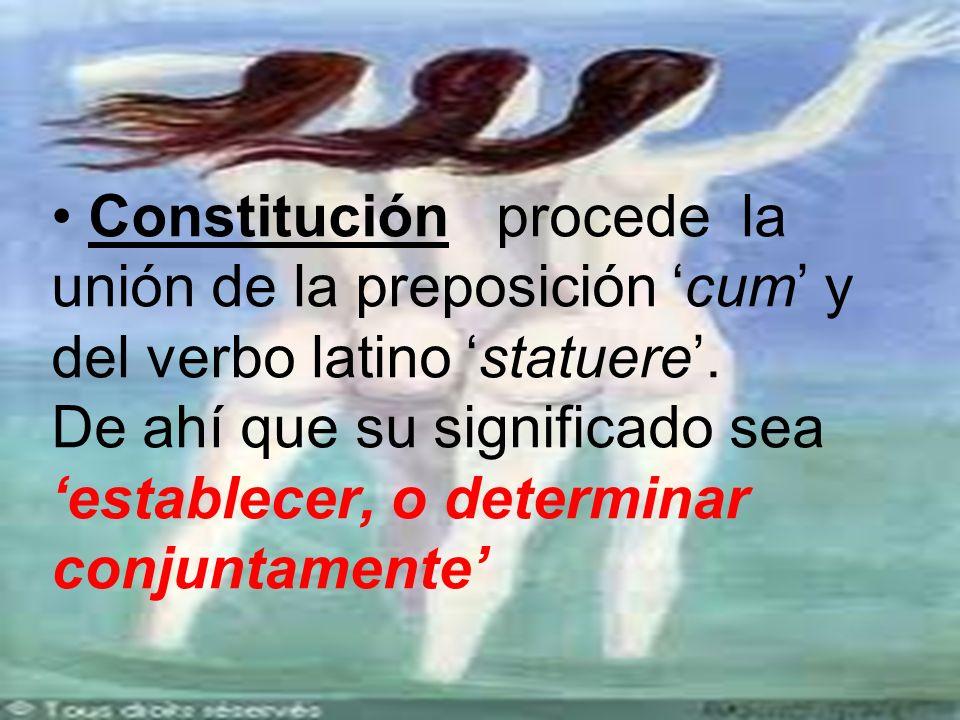 Constitución procede la unión de la preposición cum y del verbo latino statuere.