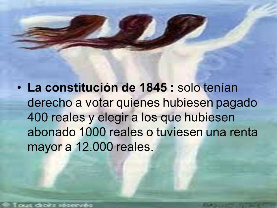 La constitución de 1845 : solo tenían derecho a votar quienes hubiesen pagado 400 reales y elegir a los que hubiesen abonado 1000 reales o tuviesen una renta mayor a 12.000 reales.