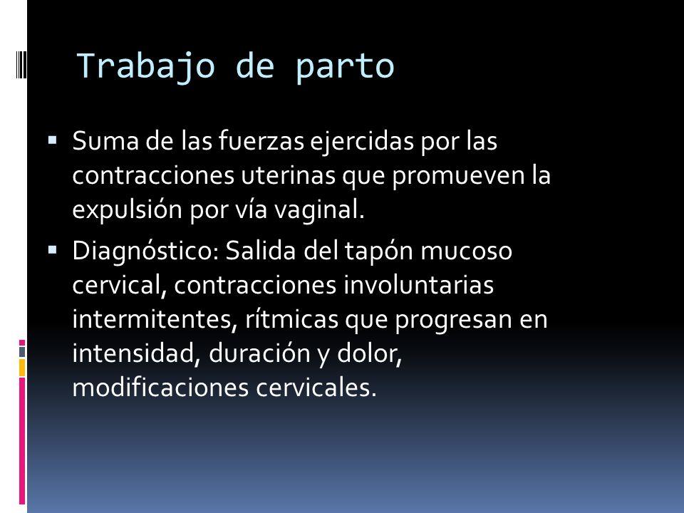 Inducción Consiste en estimular el trabajo de parto previo al inicio espontaneo de este con o sin ruptura prematura de membranas.