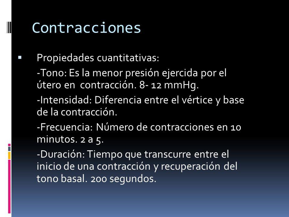 Contracciones Propiedades cualitativas: -Triple gradiente descendiente: 1.Propagación 2.Duración 3.Intensidad -Coordinación: Contracciones generalizadas y ordenadas.