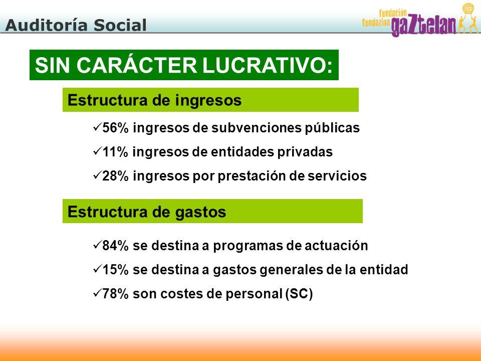 Auditoría Social SIN CARÁCTER LUCRATIVO: Estructura de ingresos 56% ingresos de subvenciones públicas 11% ingresos de entidades privadas 28% ingresos