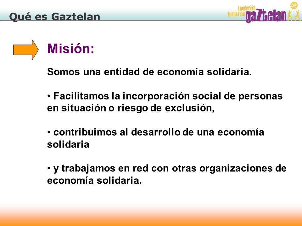 22 Qué es Gaztelan Misión: Somos una entidad de economía solidaria. Facilitamos la incorporación social de personas en situación o riesgo de exclusión