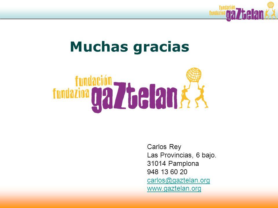 Muchas gracias Carlos Rey Las Provincias, 6 bajo. 31014 Pamplona 948 13 60 20 carlos@gaztelan.org www.gaztelan.org