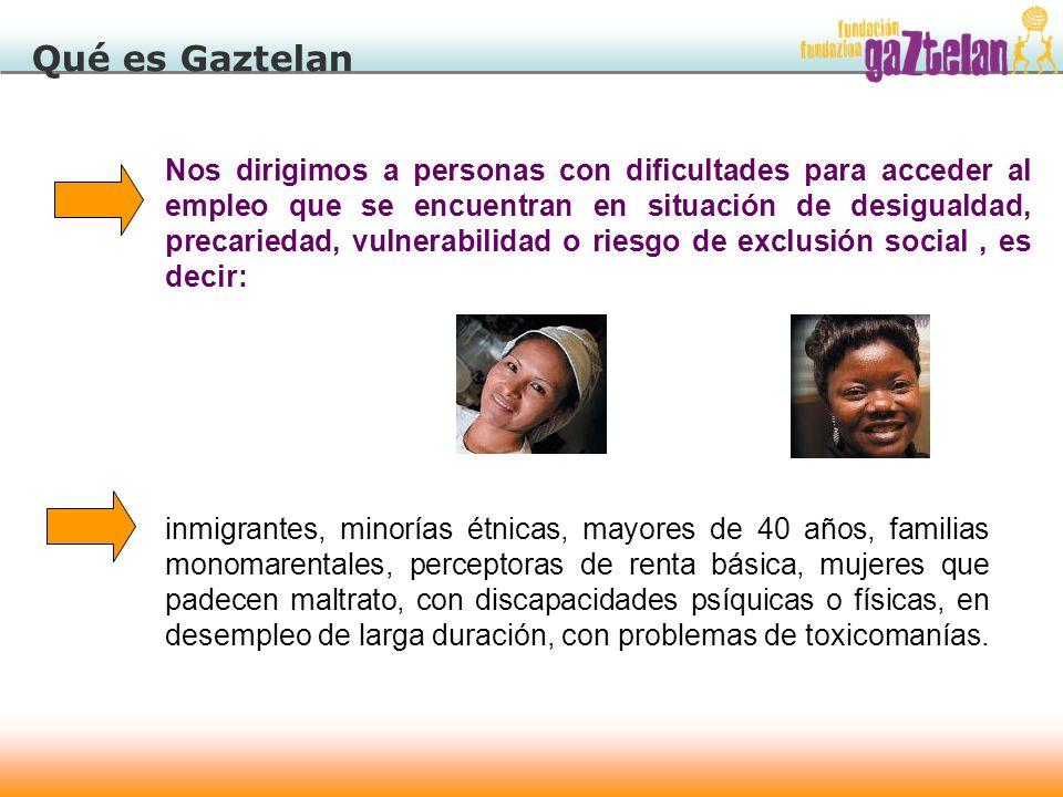 Qué es Gaztelan Nos dirigimos a personas con dificultades para acceder al empleo que se encuentran en situación de desigualdad, precariedad, vulnerabi