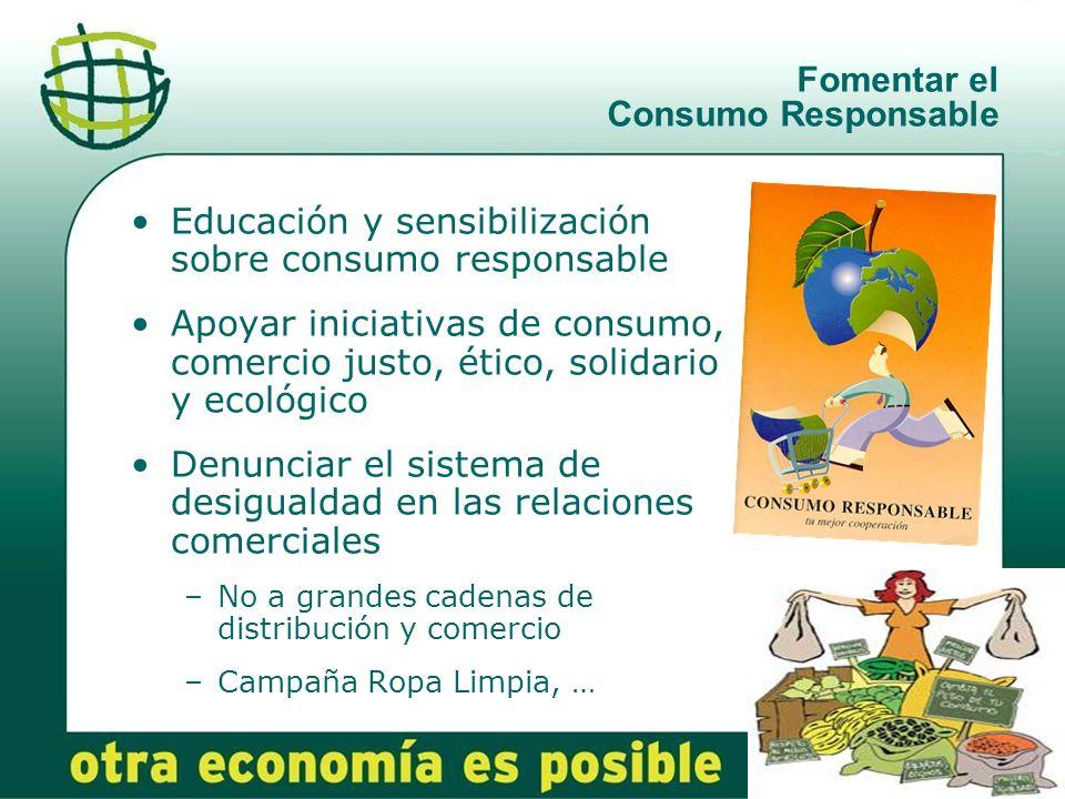14 Fomentar el Consumo Responsable Educación y sensibilización sobre consumo responsable Apoyar iniciativas de consumo, comercio justo, ético, solidar