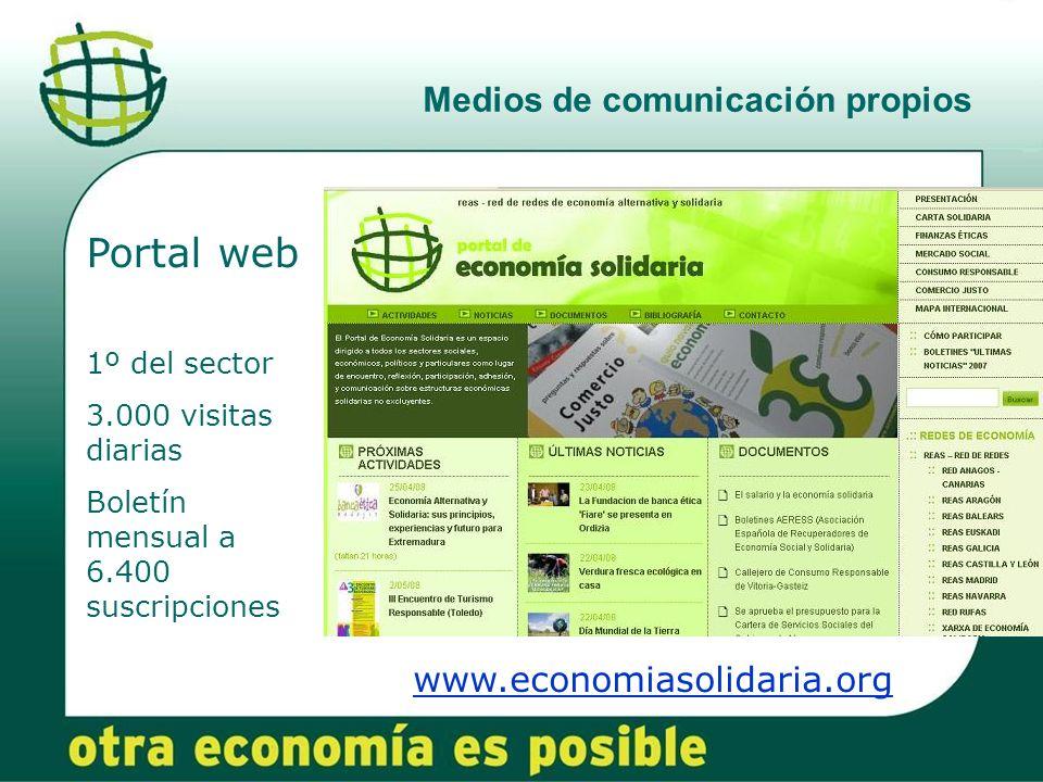 Medios de comunicación propios www.economiasolidaria.org Portal web 1º del sector 3.000 visitas diarias Boletín mensual a 6.400 suscripciones