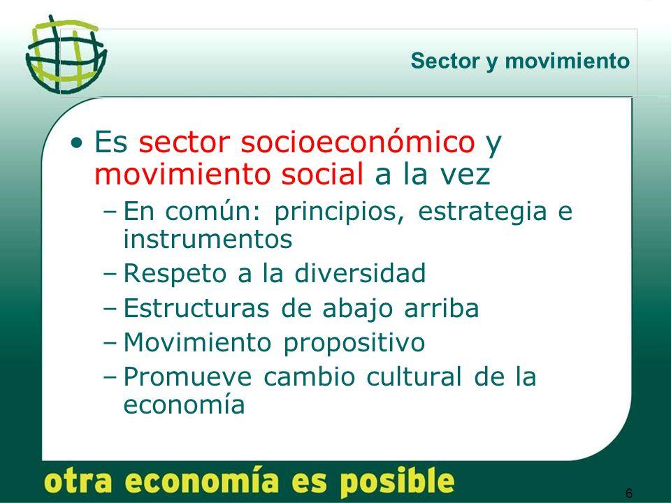 6 Sector y movimiento Es sector socioeconómico y movimiento social a la vez –En común: principios, estrategia e instrumentos –Respeto a la diversidad –Estructuras de abajo arriba –Movimiento propositivo –Promueve cambio cultural de la economía