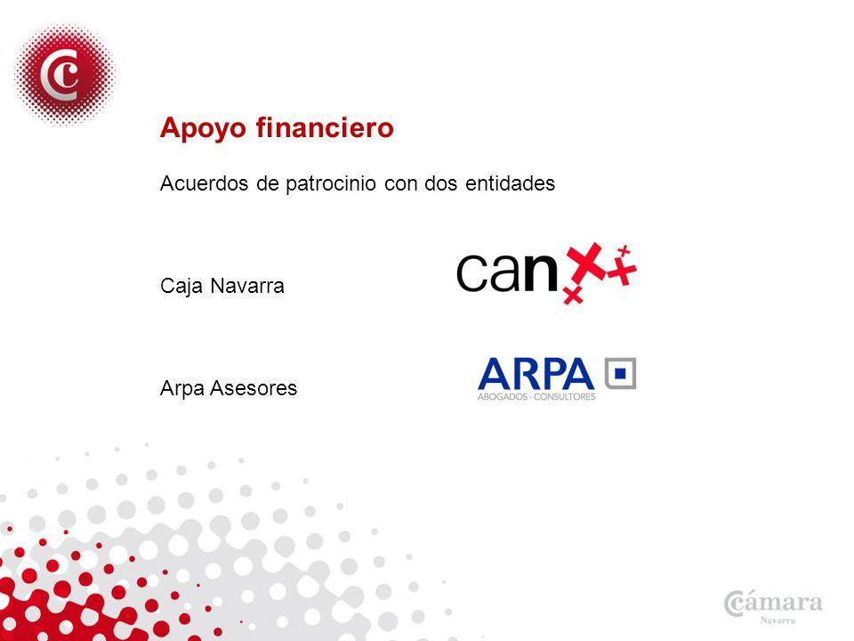 Apoyo financiero Acuerdos de patrocinio con dos entidades Caja Navarra Arpa Asesores