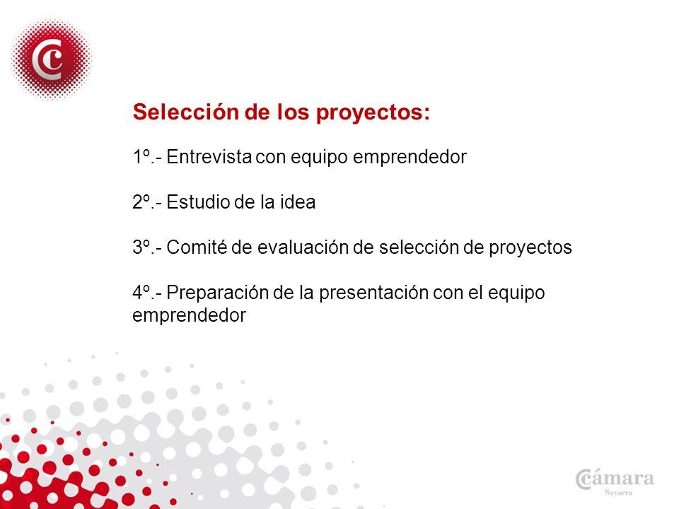Selección de los proyectos: 1º.- Entrevista con equipo emprendedor 2º.- Estudio de la idea 3º.- Comité de evaluación de selección de proyectos 4º.- Preparación de la presentación con el equipo emprendedor