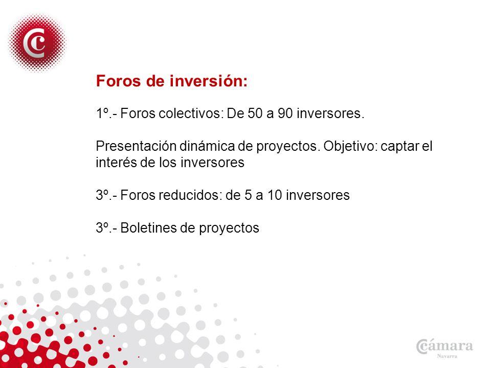 Foros de inversión: 1º.- Foros colectivos: De 50 a 90 inversores.