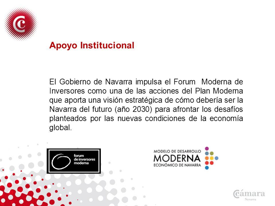Apoyo Institucional El Gobierno de Navarra impulsa el Forum Moderna de Inversores como una de las acciones del Plan Moderna que aporta una visión estratégica de cómo debería ser la Navarra del futuro (año 2030) para afrontar los desafíos planteados por las nuevas condiciones de la economía global.