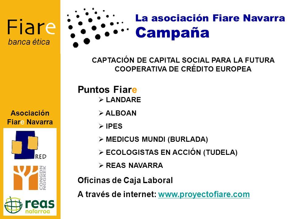Asociación Fiare Navarra banca ética CAPTACIÓN DE CAPITAL SOCIAL PARA LA FUTURA COOPERATIVA DE CRÉDITO EUROPEA Oficinas de Caja Laboral LANDARE ALBOAN IPES MEDICUS MUNDI (BURLADA) ECOLOGISTAS EN ACCIÓN (TUDELA) REAS NAVARRA Puntos Fiare La asociación Fiare Navarra Campaña A través de internet: www.proyectofiare.comwww.proyectofiare.com