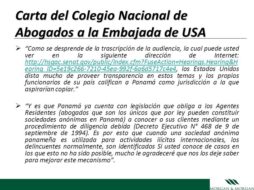 Carta del Colegio Nacional de Abogados a la Embajada de USA Como se desprende de la trascripción de la audiencia, la cual puede usted ver en la siguie