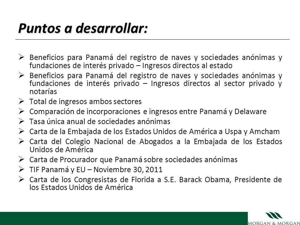 Beneficios para Panamá del registro de naves y sociedades anónimas y fundaciones de interés privado Ingresos Directos al Estado Naves (impuestos y tasas, licencias int.