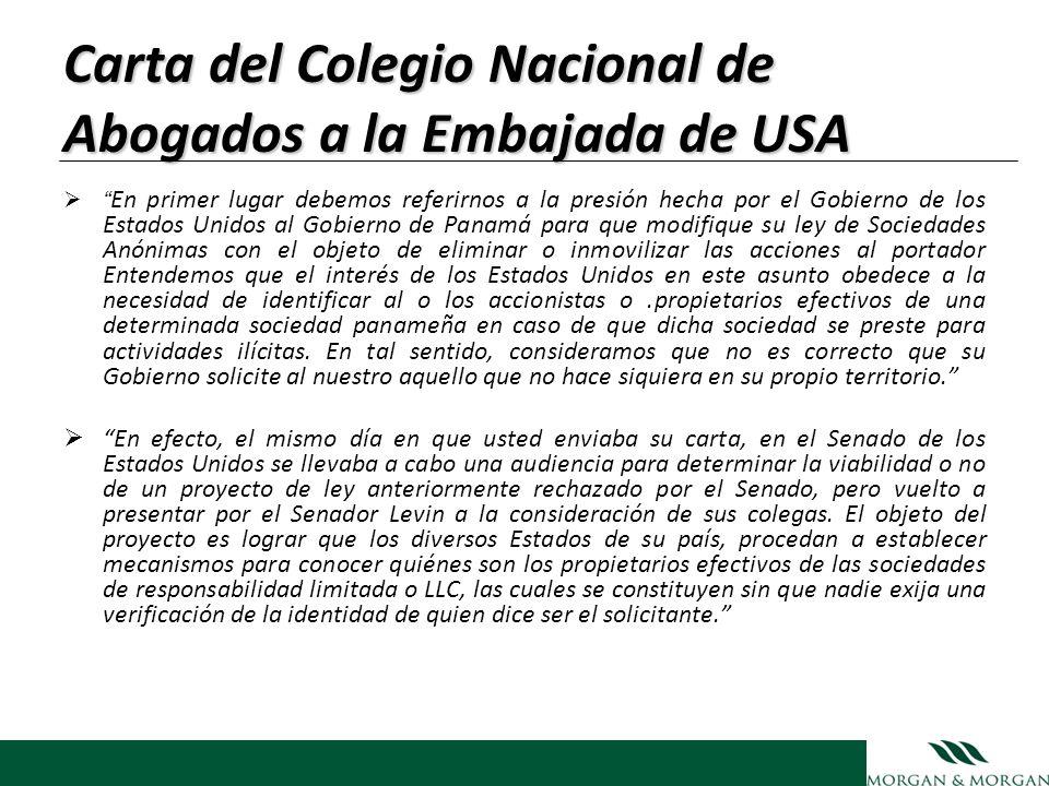 Carta del Colegio Nacional de Abogados a la Embajada de USA En primer lugar debemos referirnos a la presión hecha por el Gobierno de los Estados Unido