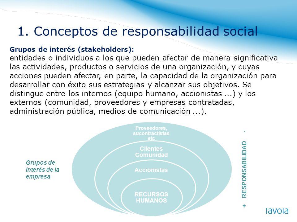Grupos de interés (stakeholders): entidades o individuos a los que pueden afectar de manera significativa las actividades, productos o servicios de un