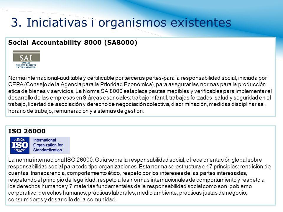 Social Accountability 8000 (SA8000) Norma internacional-auditable y certificable por terceras partes-para la responsabilidad social, iniciada por CEPA