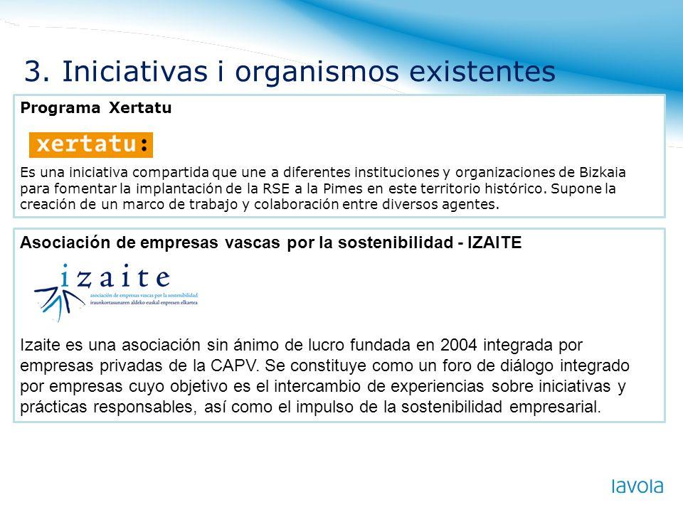 . Programa Xertatu Es una iniciativa compartida que une a diferentes instituciones y organizaciones de Bizkaia para fomentar la implantación de la RSE